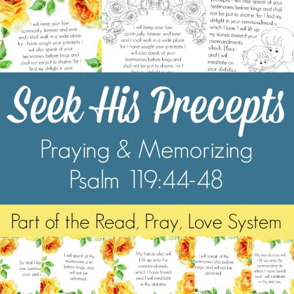Pray and begin memorizing Psalm 119:44-48 together as a family, all about seeking the precepts of the Lord and loving His commandments! These beautiful scripture art prints, memory verse cards, coloring pages, and prayer prompts are a wonderful way to get started. Part of the Proverbial Homemaker Read, Pray, Love system.