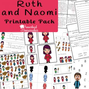 Use the Ruth printable pack to teach your kids about the story of Ruth! Includes character traits, cut and paste work, copywork, and more!