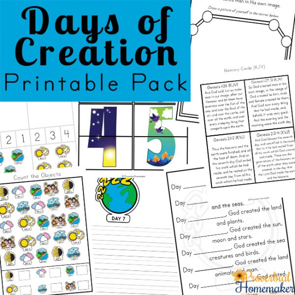 Teach your children about creation with the Days of Creation Printable Pack! This 100+ page pack includes copywork, fun worksheets, math and literacy activities, and more!
