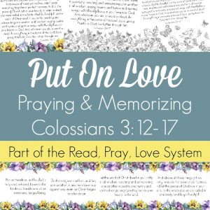 Pray and begin memorizing Colossians 3:12-17 together as a family, all about putting on the love of Christ in all we do! These beautiful scripture art prints, memory verse cards, coloring pages, and prayer prompts are a wonderful way to get started. Part of the Proverbial Homemaker Read, Pray, Love system.