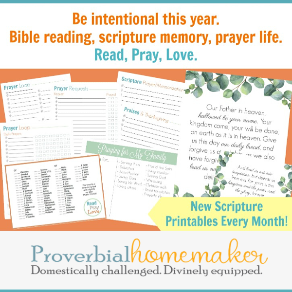 Read, Pray, Love is an annual event in the Proverbial Homemaker community. You'll find monthly scripture printables as well as prayer binder setup files to make it easier to get in God's Word, pray the scripture, and hiding it in your heart. 52 weeks of scripture printables, 52 weeks of praying the scriptures, and more!