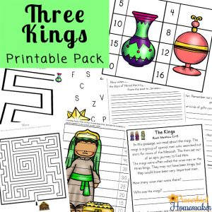 Teach your kids about the wise men with this Three Kings Printable Pack and Bible Study! Includes math, language arts, fun Bible activities, copywork, and more!