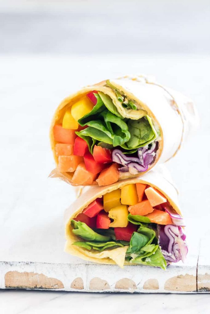 Vegan Rainbow Vegetable Tortilla Wrap - Healthy Snacks for Kids
