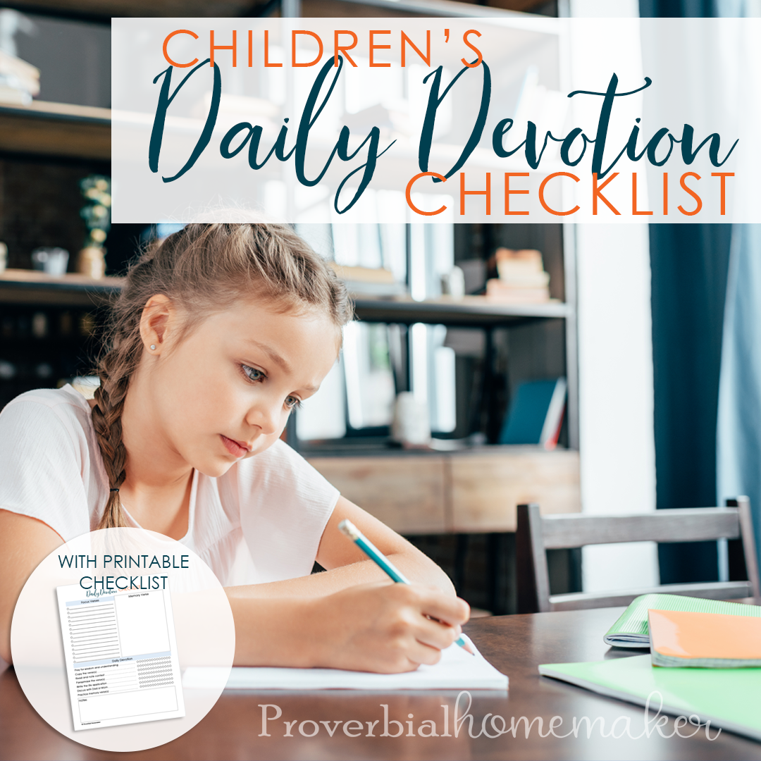 Children's Daily Devotion Checklist - FREE!