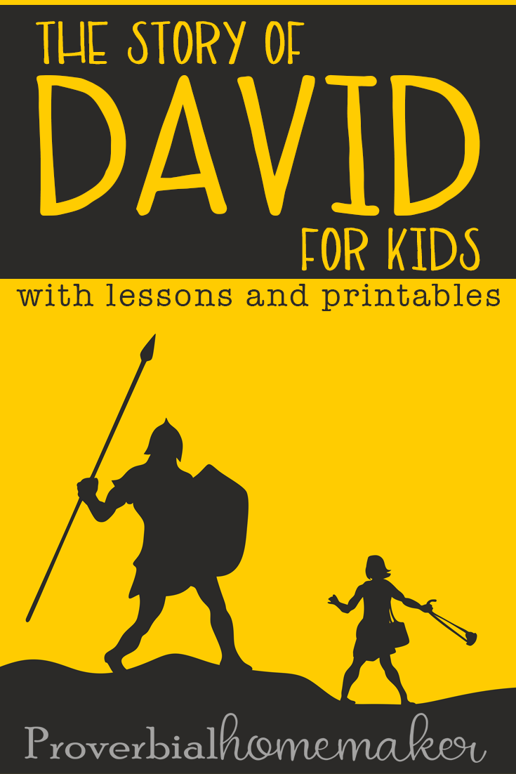 Teach life lessons and godly character through the Bible story of David for kids! Includes a list of teaching points plus a printable pack with Bible lessons, math and literacy activities, copywork, and more! Your kids will love this David printable pack.