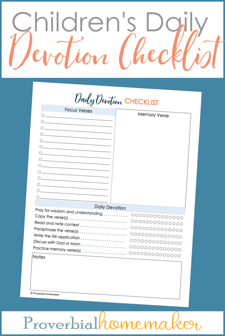 FREE printable children's daily devotion checklist - a great tool to help your children be more independent and consistent in personal daily devotions! Can be used as a personal devotion checklist, homeschool Bible study tool, family devotion checklist, and more.