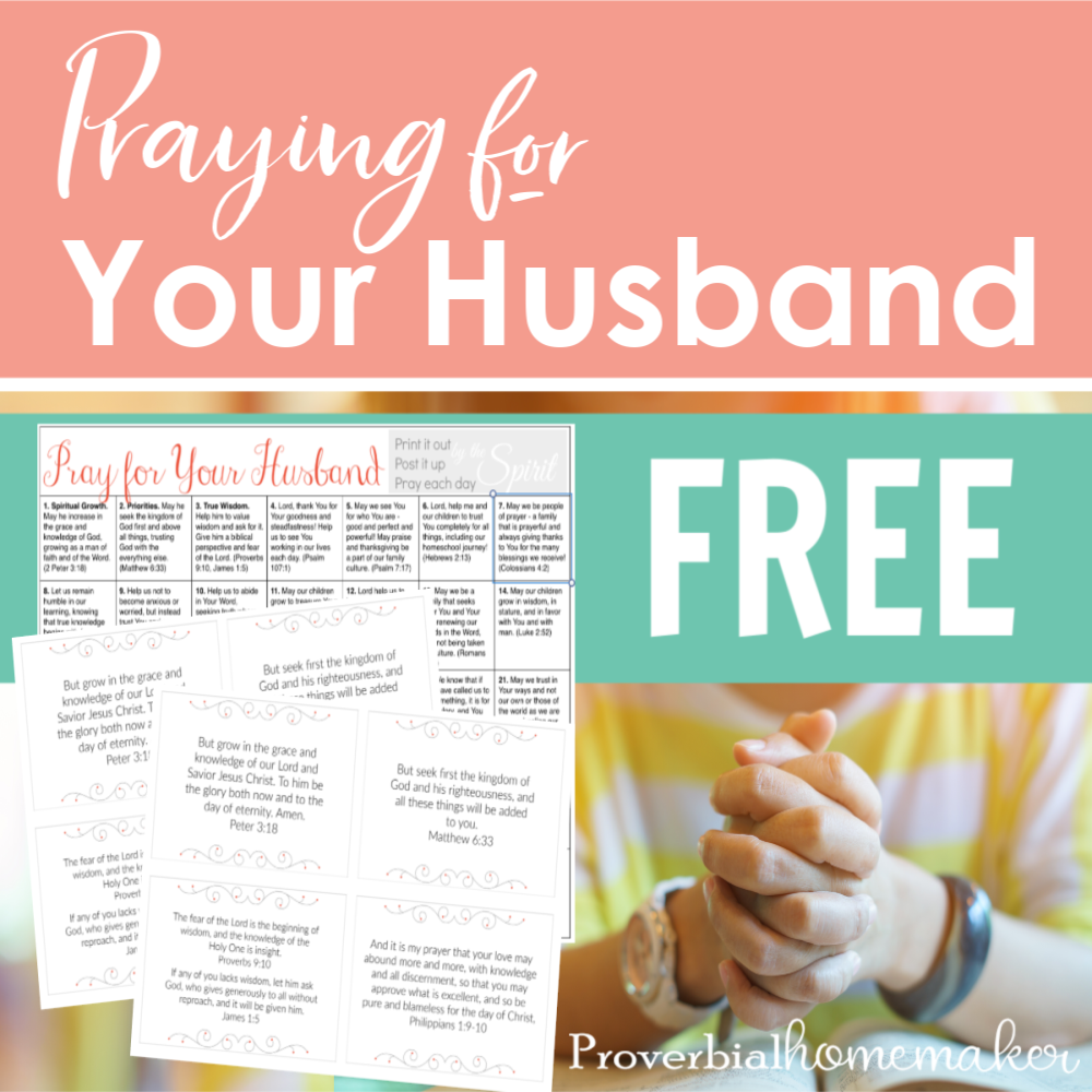 Praying for your husband - Pray for your husband using this prayer calendar and Scripture cards!