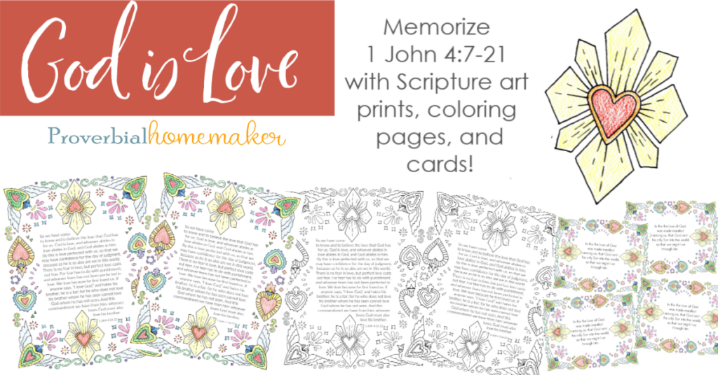 God is love! Memorize 1 John 4:7-21 as a family with this beautiful Scripture printable pack! Includes custom illustrations, memory verse cards, and a coloring page.