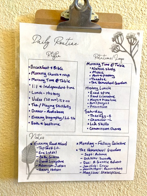 Create a daily homeschool schedule with a flexible plan!