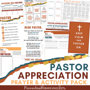 "Pray for your pastor and find great ways to bless him with this Pastor Appreciation Printable Pack! Includes pastor appreciation cards with poems, prayer calendars, an ""about my pastor"" page, and more! #pastorappreciation #christiankids #christianfamily #printable"
