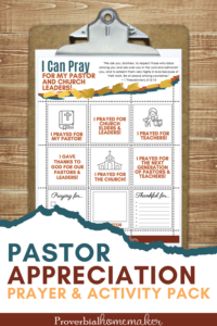 """Pray for your pastor and find great ways to bless him with this Pastor Appreciation Printable Pack! Includes pastor appreciation cards with poems, prayer calendars, an """"about my pastor"""" page, and more! #pastorappreciation #christiankids #christianfamily #printable"""
