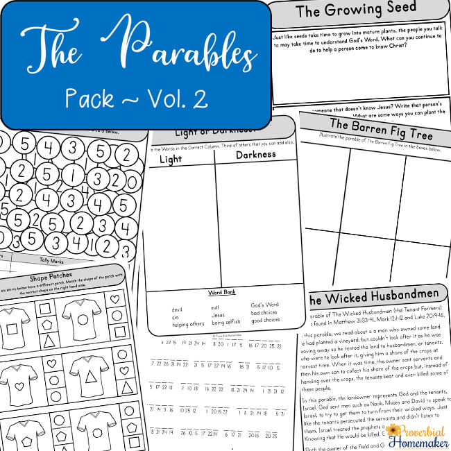 Teach your children about the parables of Jesus! This printable pack includes 12 parables of Jesus for kids with fun activities, discussion / notebooking questions, copywork, and more. #biblelesson #parables #sundayschool #familydiscipleship #bibleprintable #printable #homeschool