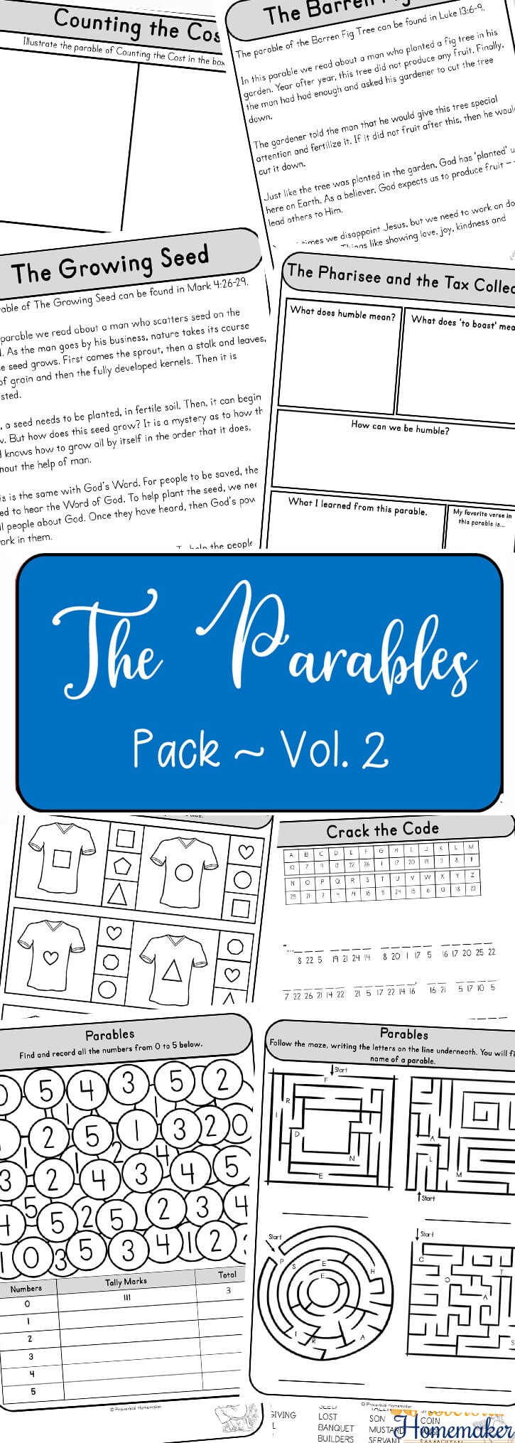 Teach your children about the parables of Jesus! This printable pack includes 12 parables of Jesus for kids with fun activities, discussion / notebooking questions, copywork, and more.
