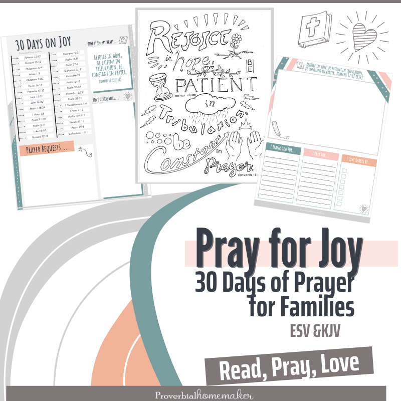 Pray for the joy of the Lord with this free 30-day prayer calendar, kids' journal, and coloring page!