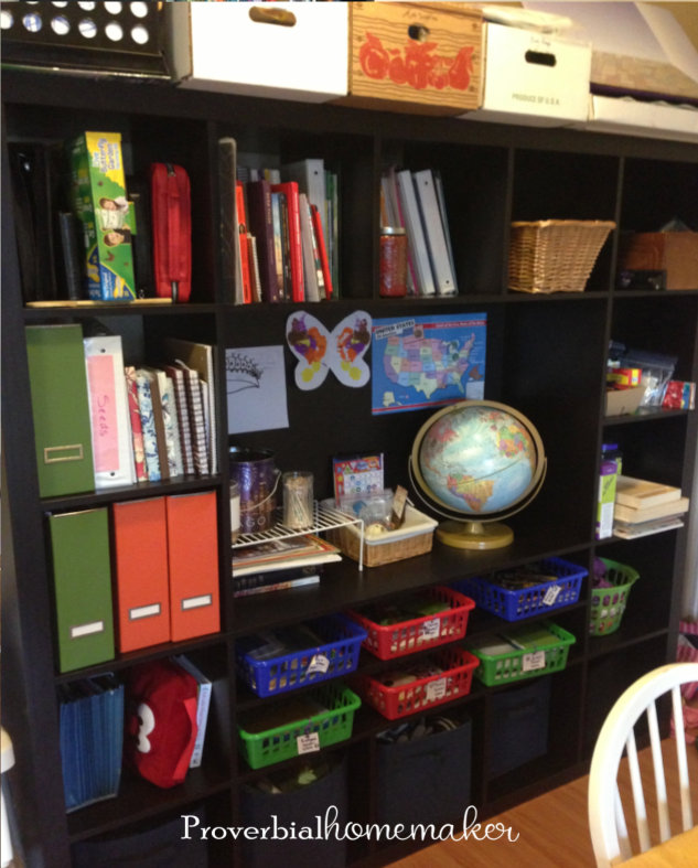 IKEA entertainment center for homeschool organization