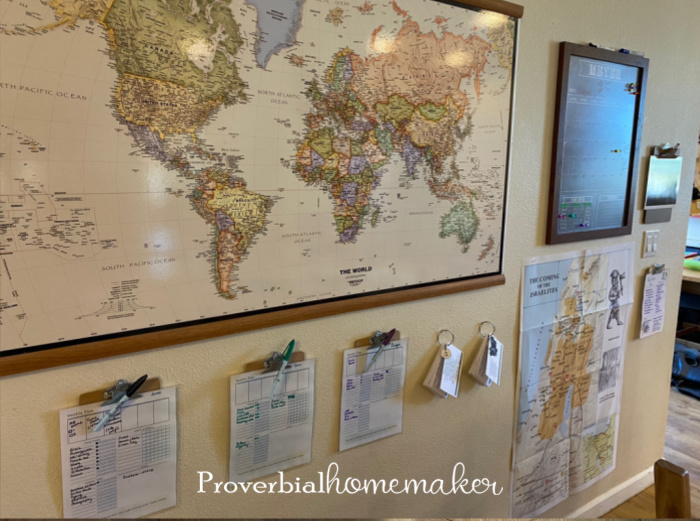 Homeschool command station with maps, checklists, calendar, and more