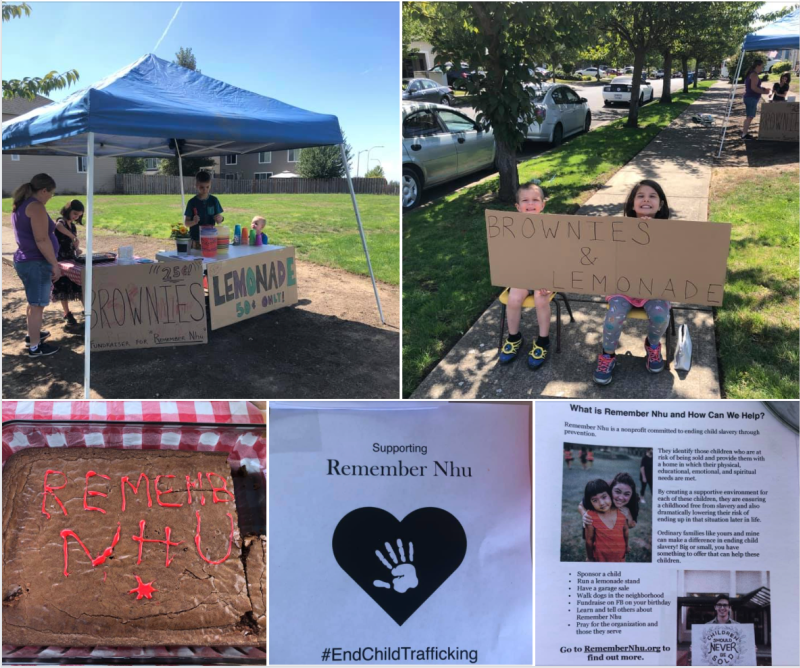 Our Remember Nhu lemonade and brownie stand fundraiser! Be sure to hand out flyers for these events. People were very moved by the kids' efforts and several decided to look into supporting Remember Nhu.