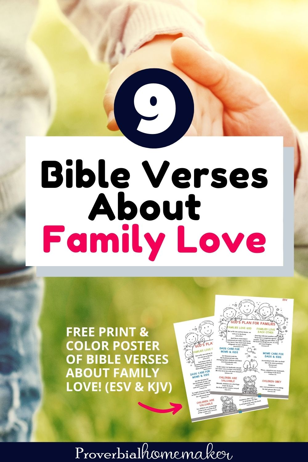 Bible verses about family love with a free coloring poster of Scripture verses in KJV and ESV